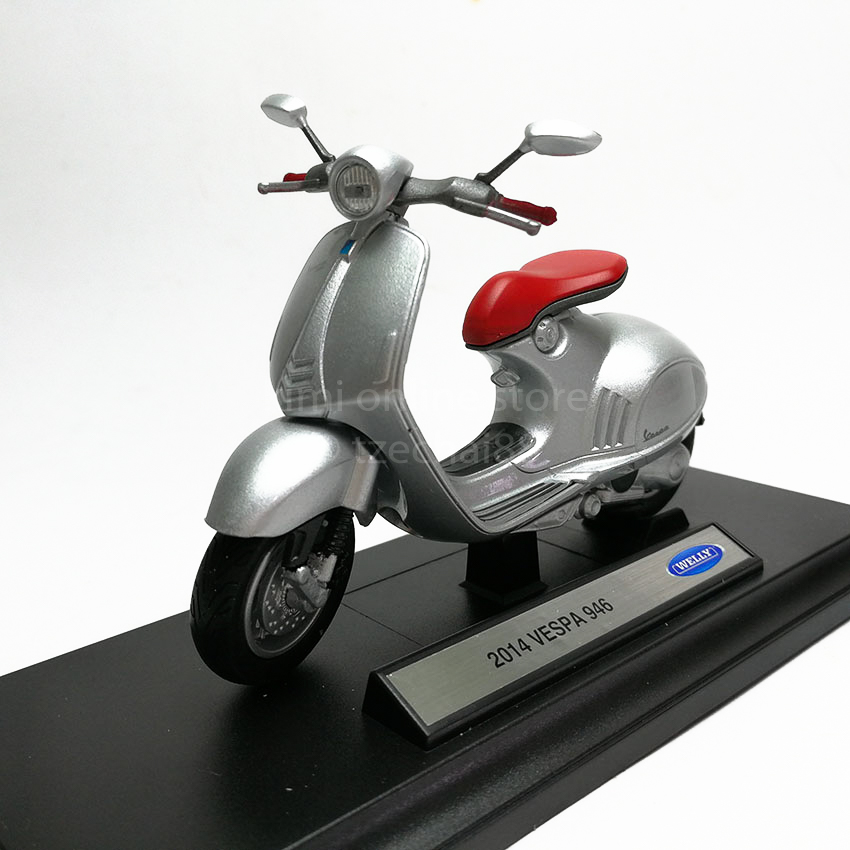 Details About Welly 118 Die Cast 2014 Vespa 946 Scooter Motorcycle Silver Model With Box New