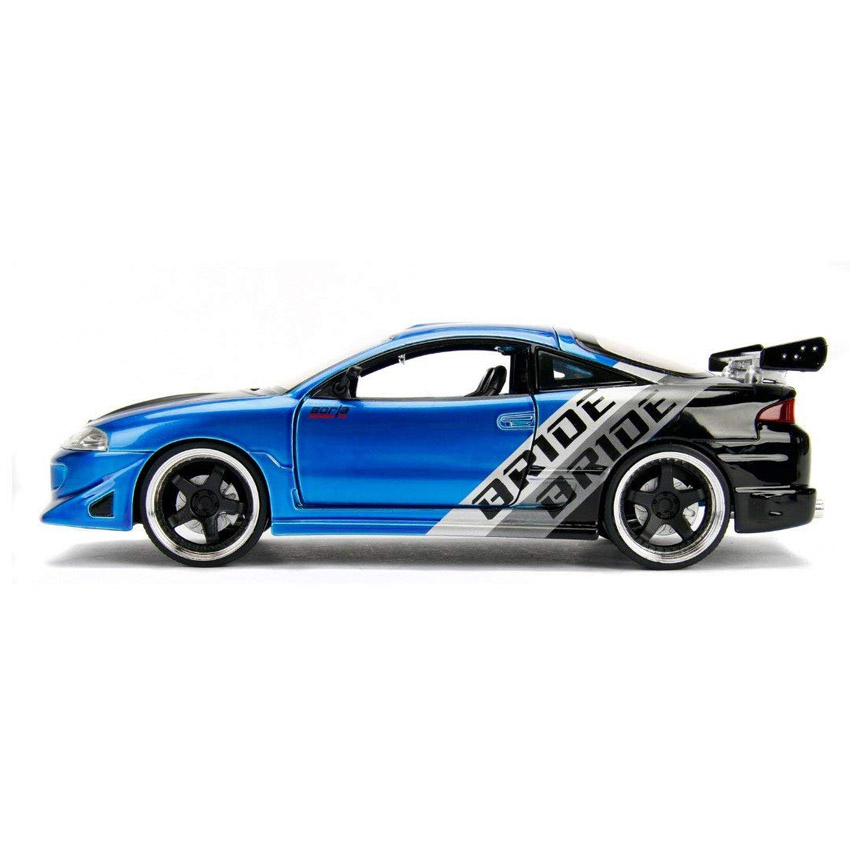 Jada 1:24 JDM Tuners Die-Cast 1995 Mitsubishi Eclipse Car Candy Blue Model Collection
