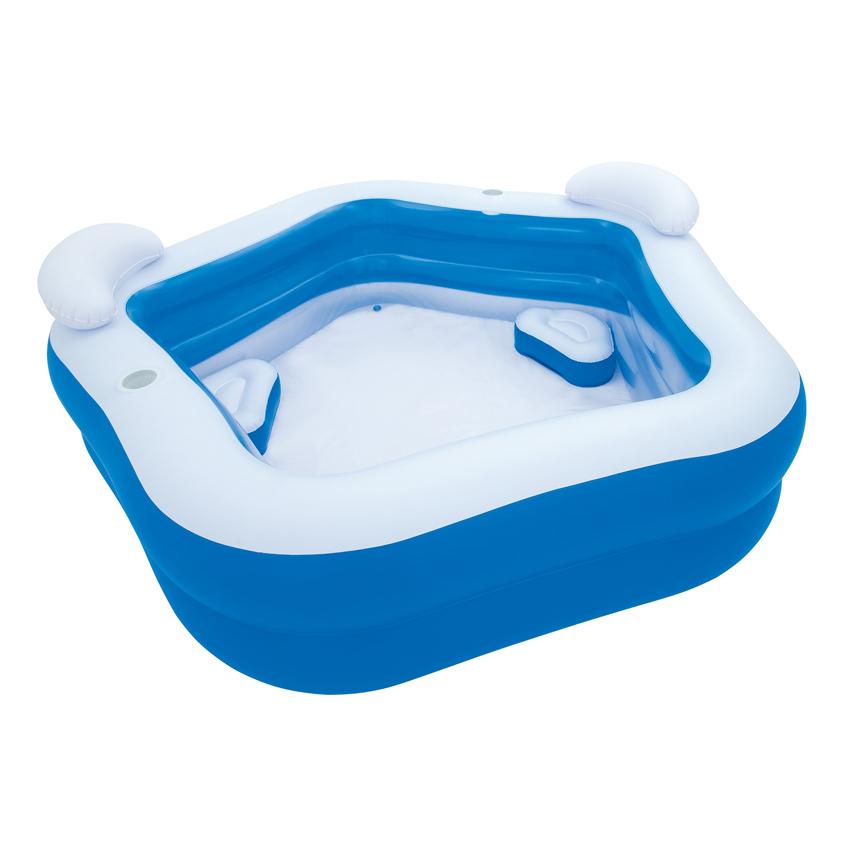 Bestway 54153 Family Fun Pool 575L Kids' Play Pool 2.13m x 2.06m x 69cm Interactive Padding Inflatable Swimming Pool