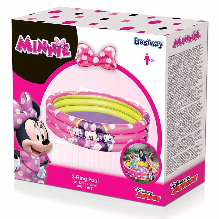 Bestway 91066 3 Ring Ball Pit Play Pool Minnie Mouse Pink 1.52m x 30cm Safety Valves Kids New