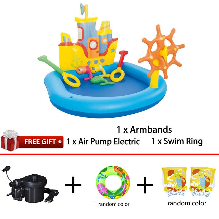 Bestway 52211 Tug Boat Play Pool 1.40m x 1.30m x 1.04m Summer Garden Kids Family Swimming Pool