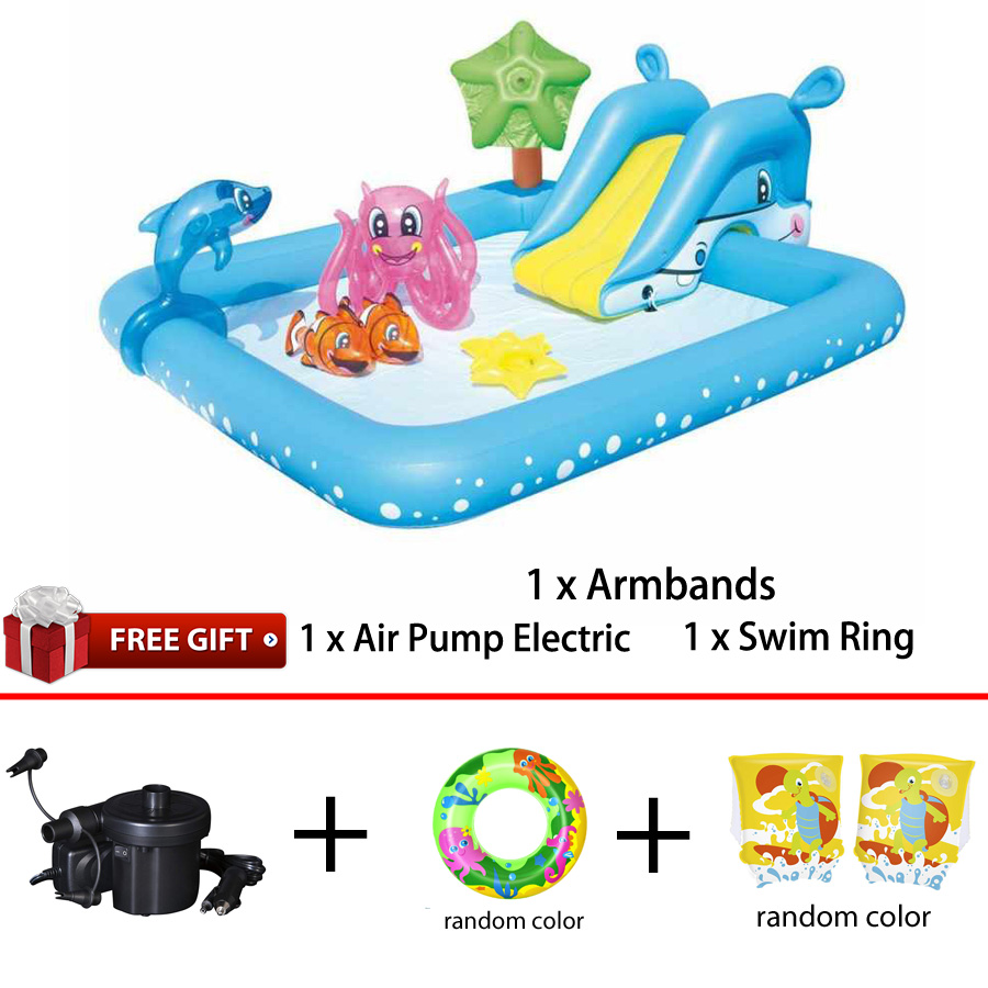 Bestway 53052 Inflatable Fantastic Aquarium Play Pool 2.39m x 2.06m x 86cm Fish Splash Play Paddling Pool Toy Water Spray Slide