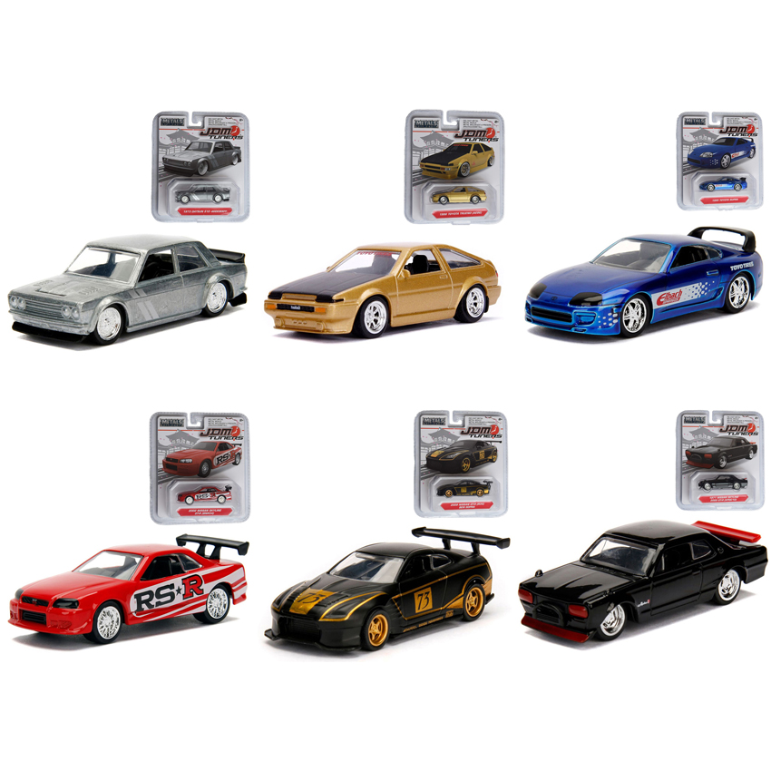 Jada 1:64 JDM Tuners Die-Cast Wave 4 - 6-Piece Case Car 6 in 1 Set Model Collection