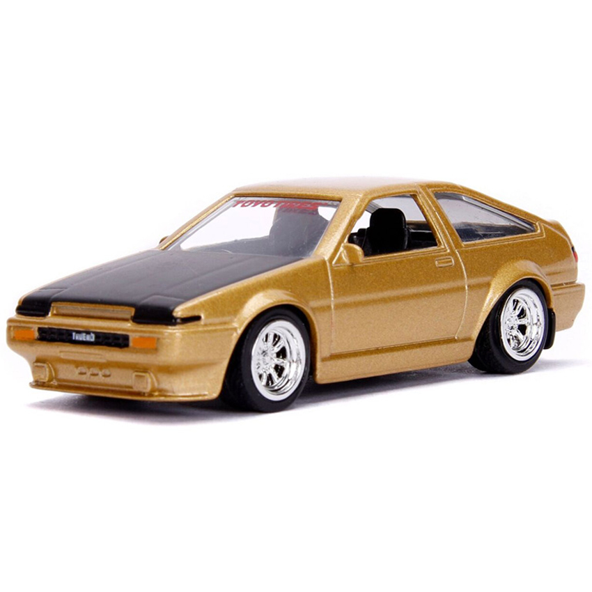 Jada 1:64 JDM Tuners Die-Cast 1986 Toyota Trueno AE86 Car Gold Model Collection