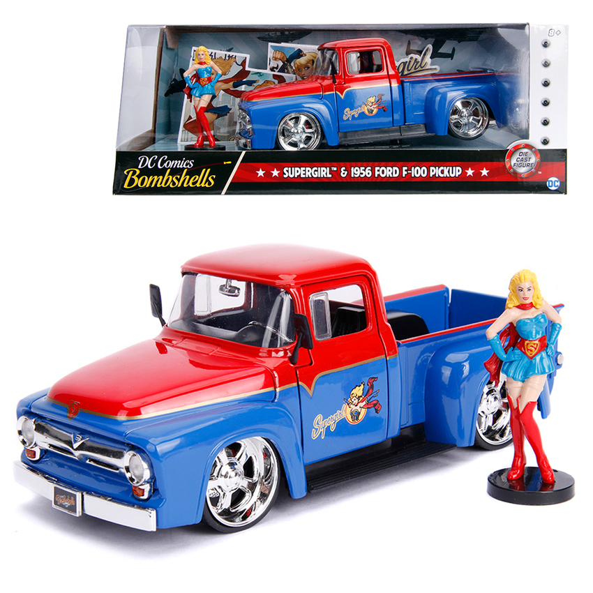 Jada 1:24 Die-Cast Hollywood Rides Supergirl & 1956 Ford F 100 Car Model Collection