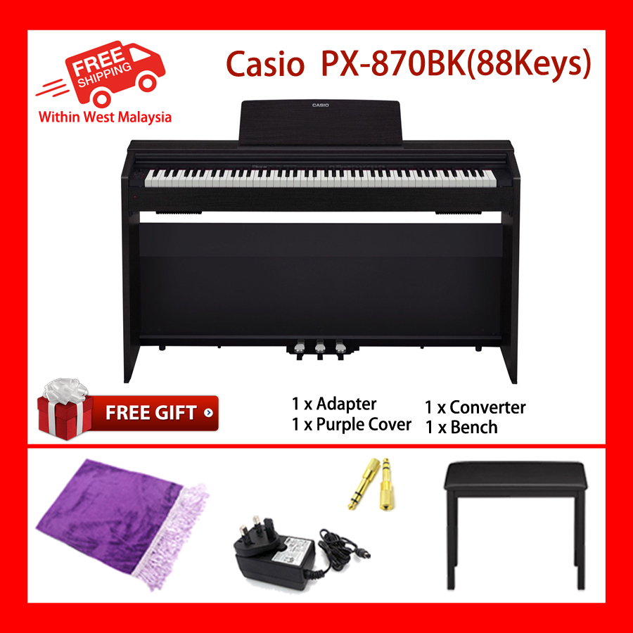 88 Keys Casio Privia PX-870 BK Electronic Musical Instruments Piano AiR Sound Source