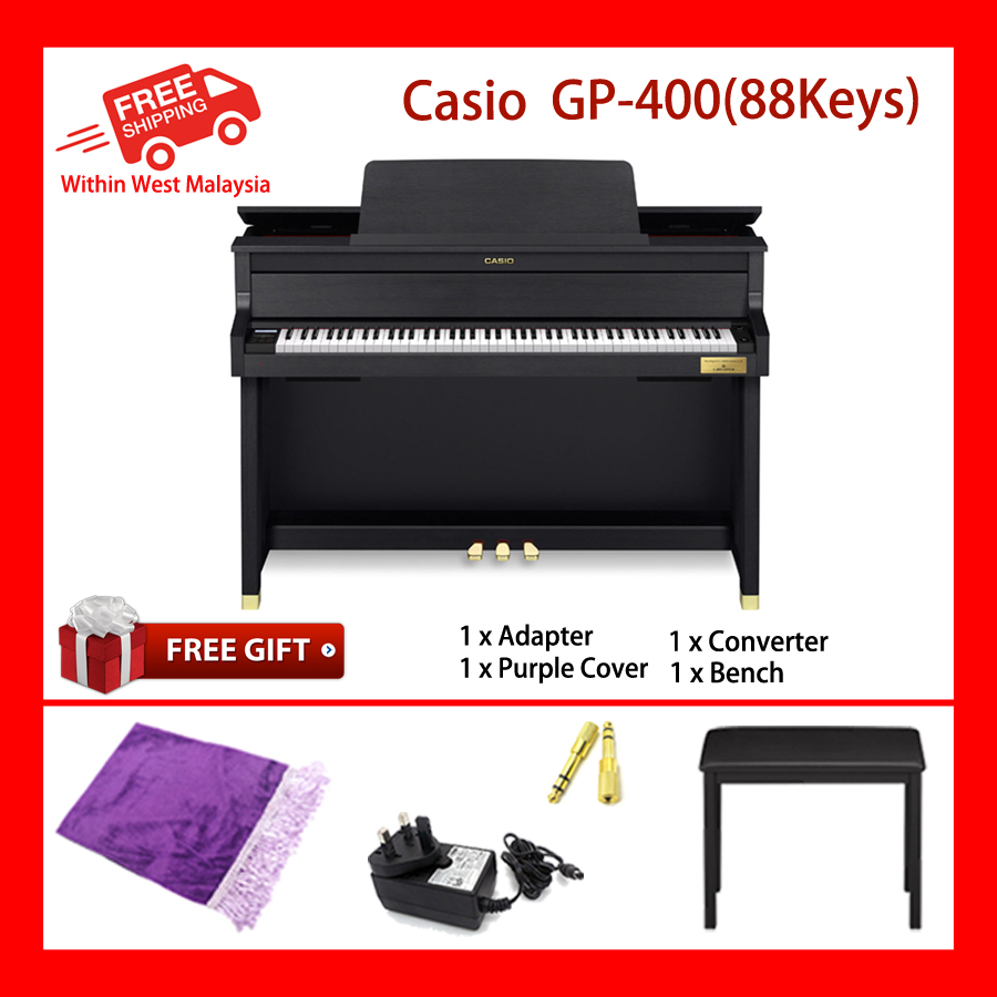 88 Key Casio GP-400 BK Grand Hybrid Piano 5 Sensitive Levels Polyphony 256 New