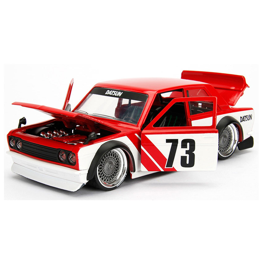 Jada 1:24 JDM Tuners Die-Cast 1973 Datsun 510 Widebody Car Red Model Collection
