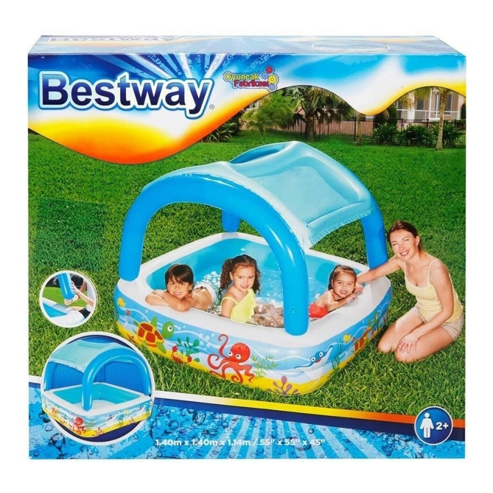 Bestway 52192 L 1.40m x H 1.14m Rectangular Canopy Inflatable Pool Safety Valves Kids New