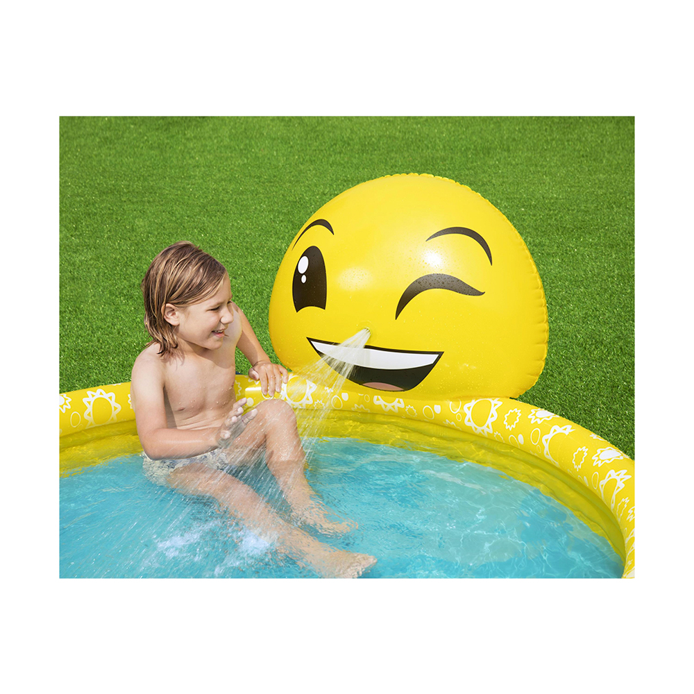 Bestway 53081 L 1.65m x W 1.44m x H 69cm Emoji Kiddie Inflatable Pool Safety Valves Kids New