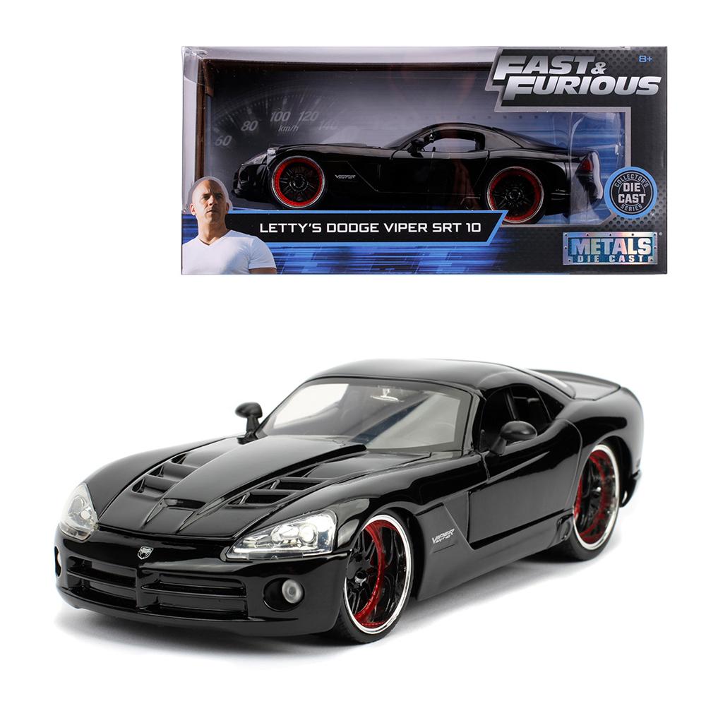 Jada 1:24 Fast & Furious Die-Cast Letty\'s 2008 Dodge Viper SRT 10 Black Model Collection