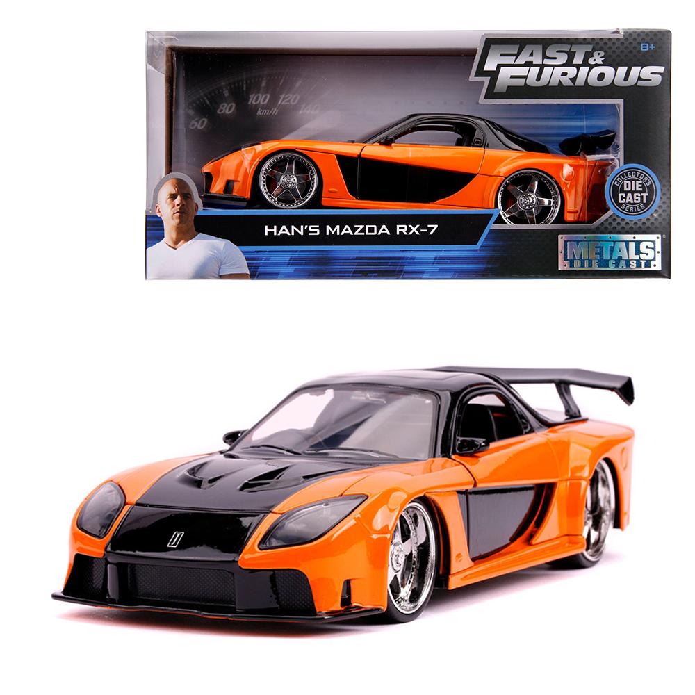 Jada 1:24 Fast & Furious Die-Cast Han\'s Mazda RX-7 Tokyo Drift Orange Model Collection