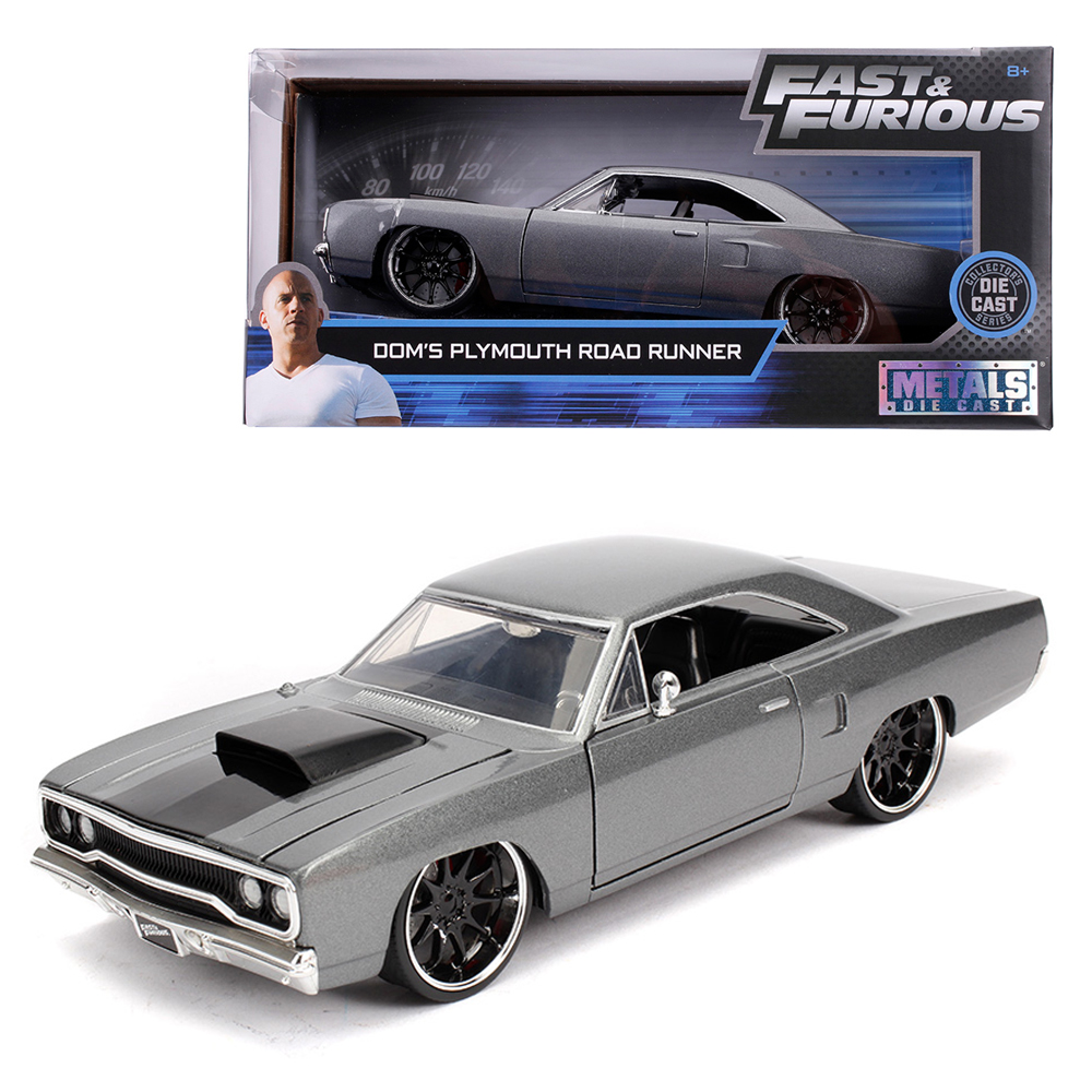 Jada 1:24 Fast & Furious Die-Cast Dom\'s 1970 Plymouth Road Runner Grey Model Collection