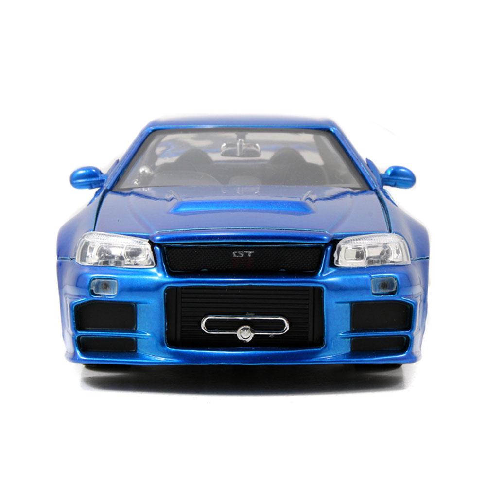 Jada 1:24 Fast & Furious Die-Cast Brian's Nissan Skyline GT-R BNR34 Blue Model Collection