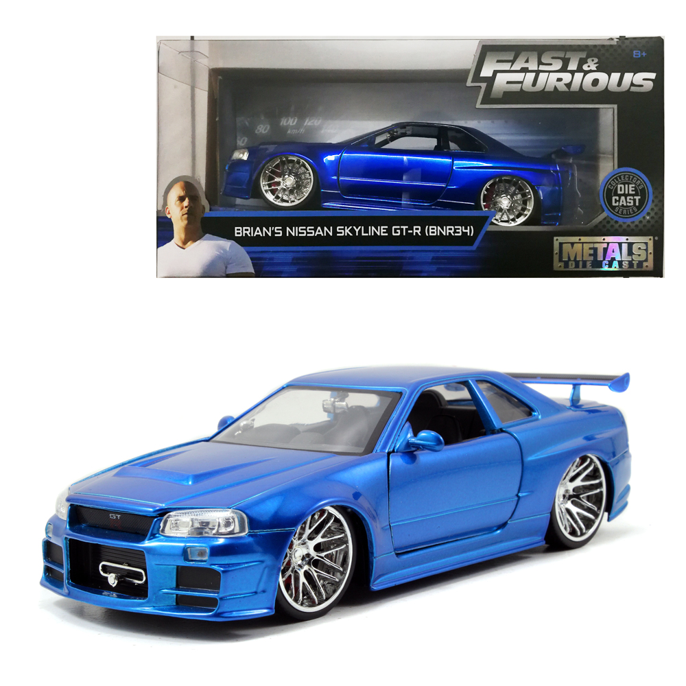 Jada 1:24 Fast & Furious Die-Cast Brian\'s Nissan Skyline GT-R BNR34 Blue Model Collection