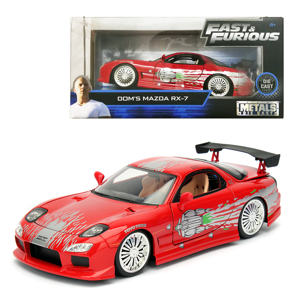 Jada 1:24 Fast & Furious Die-Cast Dom's 1993 Mazda RX-7 FD3S Red Model Collection