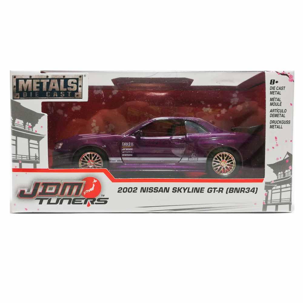 Jada 1:32 JDM Tuners Die-Cast 2002 Nissan Skyline GT-R BNR34 Car Purple Model Collection