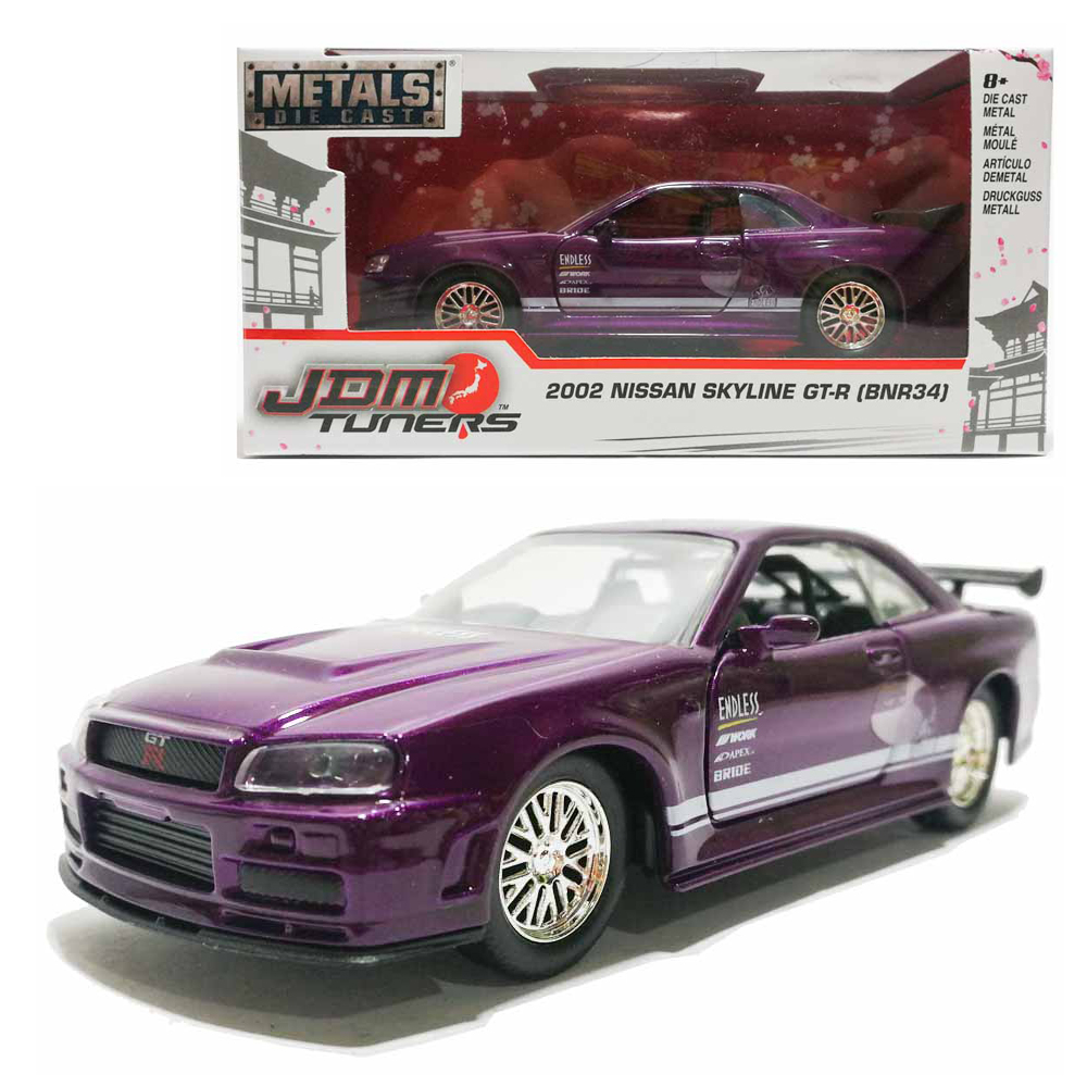 Jada 1:32 JDM Tuners Die-Cast 2002 Nissan Skyline GT-R BNR34 Car Purple Model Collection