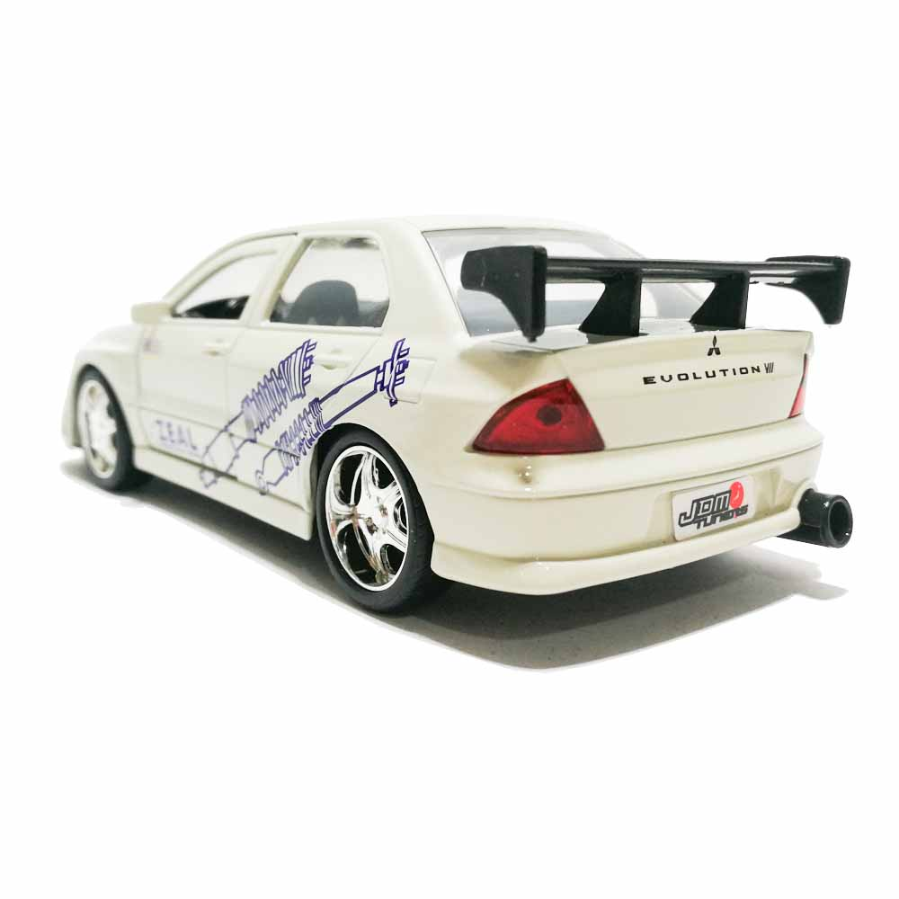 Jada 1:32 JDM Tuners Die-Cast Mitsubishi Lancer Evolution VII Car White Model Collection