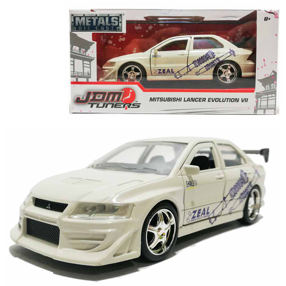 Jada 1:32 JDM Tuners Die-Cast Mitsubishi Lancer Evolution VII Car White Model Collection