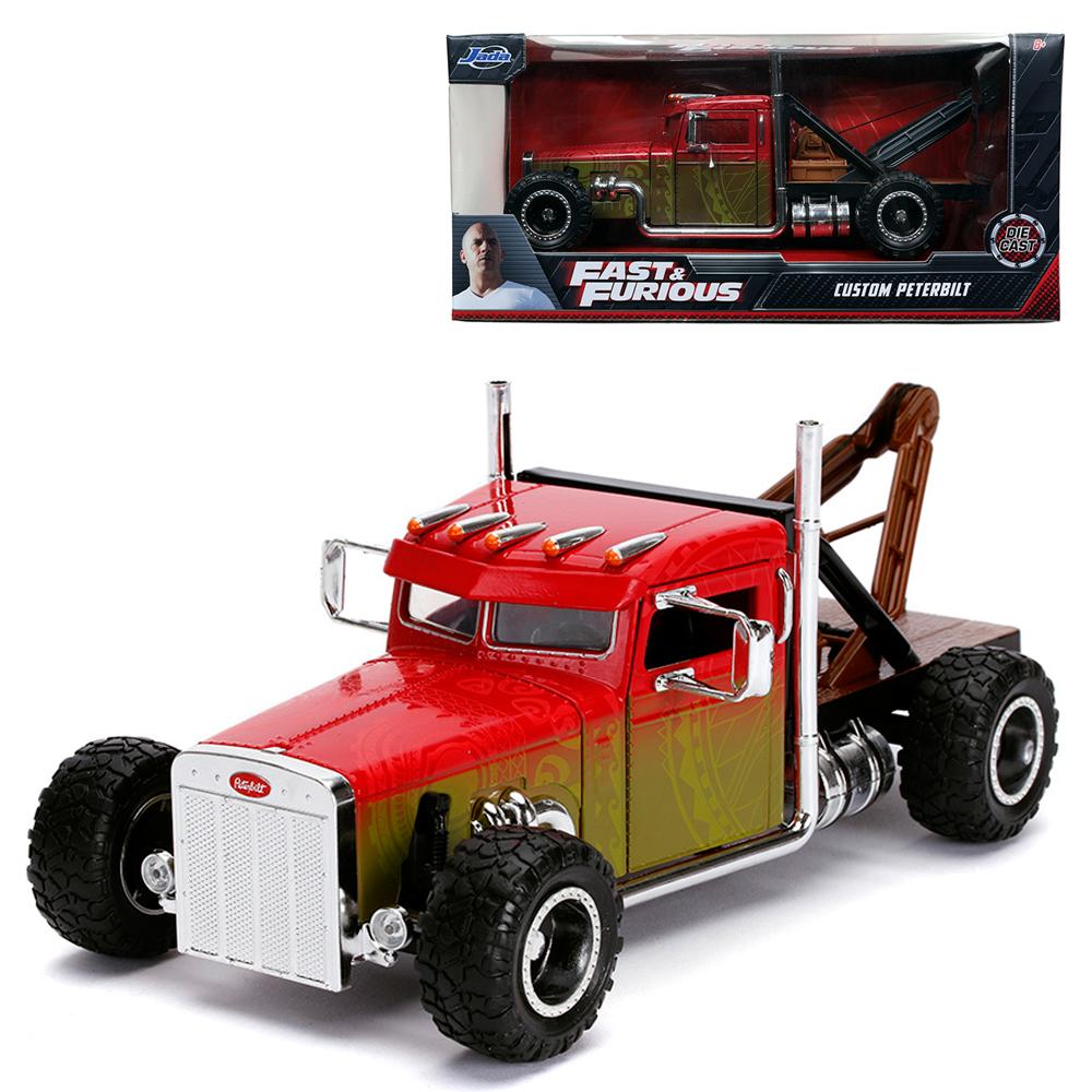 Jada 1:24 Fast & Furious Hobbs & Shaw Die-Cast Hobbs\' Custom Peterbilt Truck Car Red Model Collection