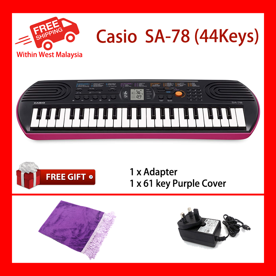 44 Key Casio SA-78 Pink Mini Electronic Keyboard Piano Organ LCD 8 Note Polyphony 100 Tones 50 Patterns 10 Song One Touch Switch