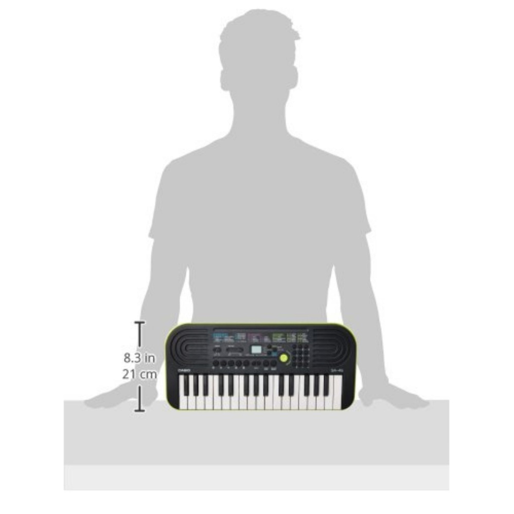 32 Key Casio SA-46 Green Mini Electronic Keyboard Piano Organ 2 Digit LCD Display 8 Note Polyphony 100 Tones 50 Patterns 10 Song One Touch Switch