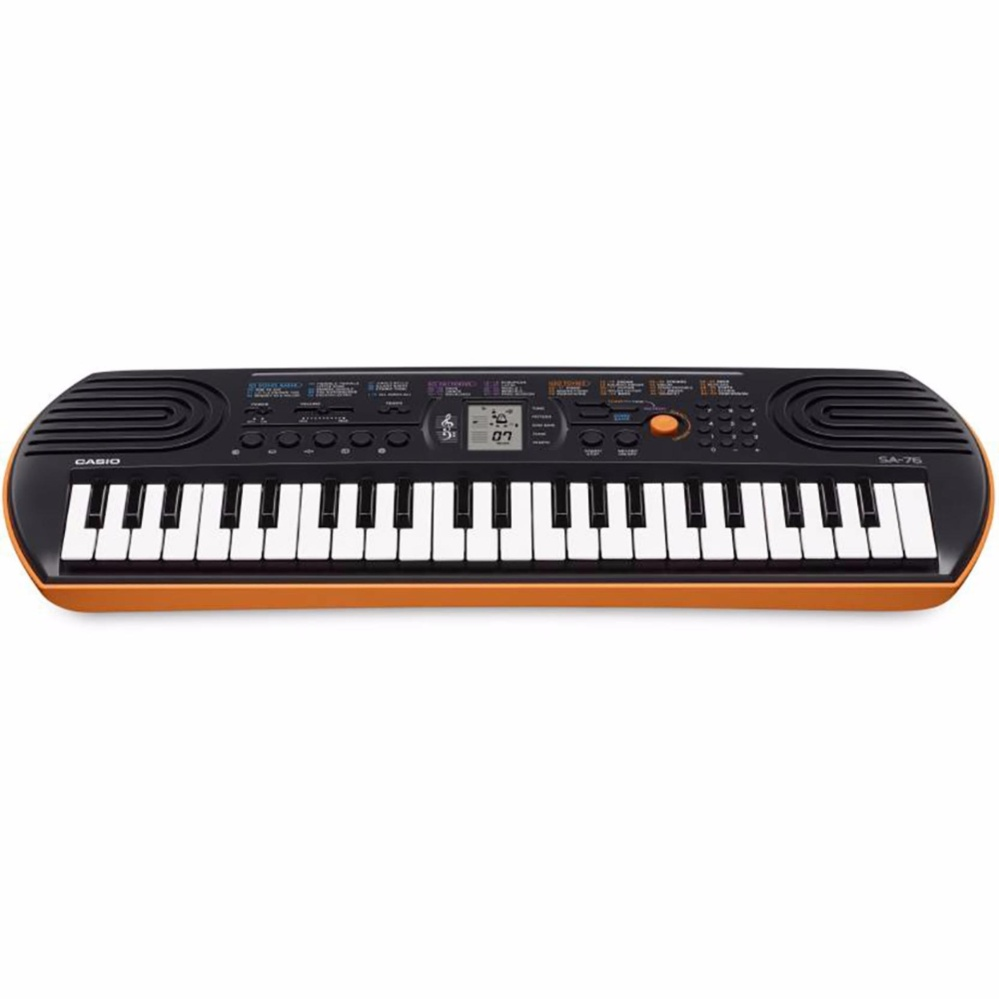 44 Key Casio SA-76 Orange Mini Electronic Keyboard Piano Organ LCD 8 Note Polyphony 100 Tones 50 Patterns 10 Song One Touch Switch