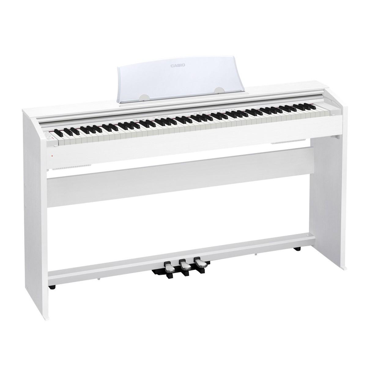 88 Key Casio PX-770 White PRIVIA Electronic Keyboard Piano Organ Tri sensor Scaled Hammer Action Keyboard II Simulated ebony and ivory keys