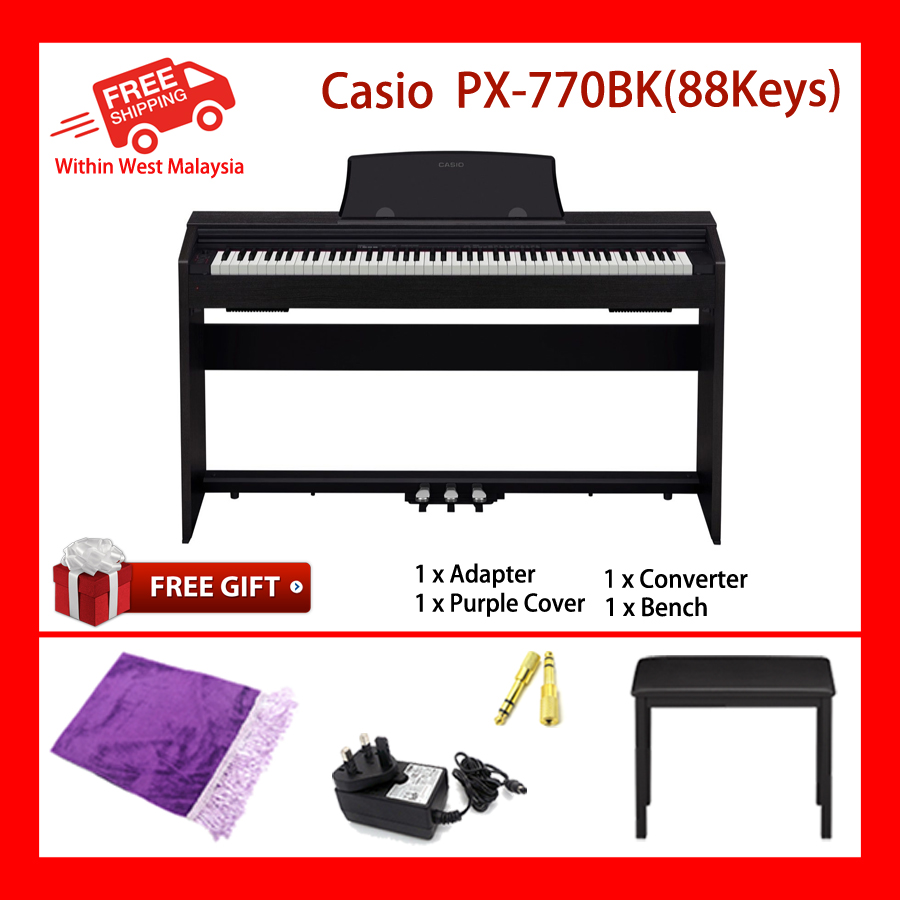 88 Key Casio PX-770 Black PRIVIA Electronic Keyboard Piano Organ Tri sensor Scaled Hammer Action Keyboard II Simulated ebony and ivory keys