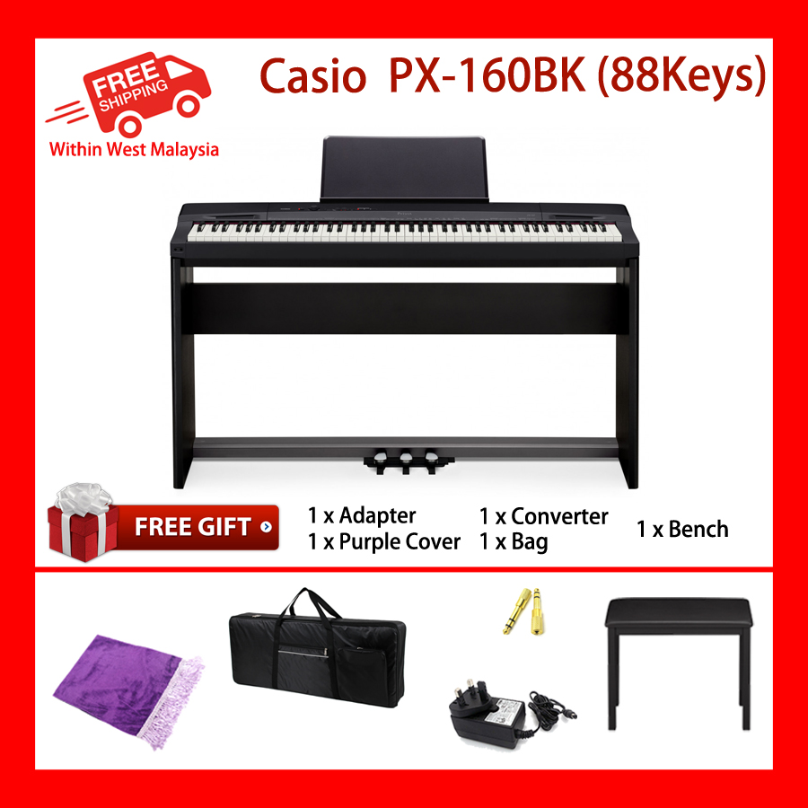 88 Key Casio PX-160 PRIVIA Electronic Keyboard Piano Organ 18 Tones 60 Songs 128 Note Polypohny MIDI Recorder 2 Tracks True Round High Defined Speakers