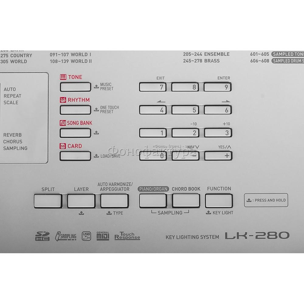 61 Key Casio Lk 280 Electronic Lighting Keyboard Piano 48 Note Diagram With Notes Polyphony 600 Tones 150 Rhythms 152 Songs Se Tr Ss Vfg Usb Sd C W Mic Sampling Chord