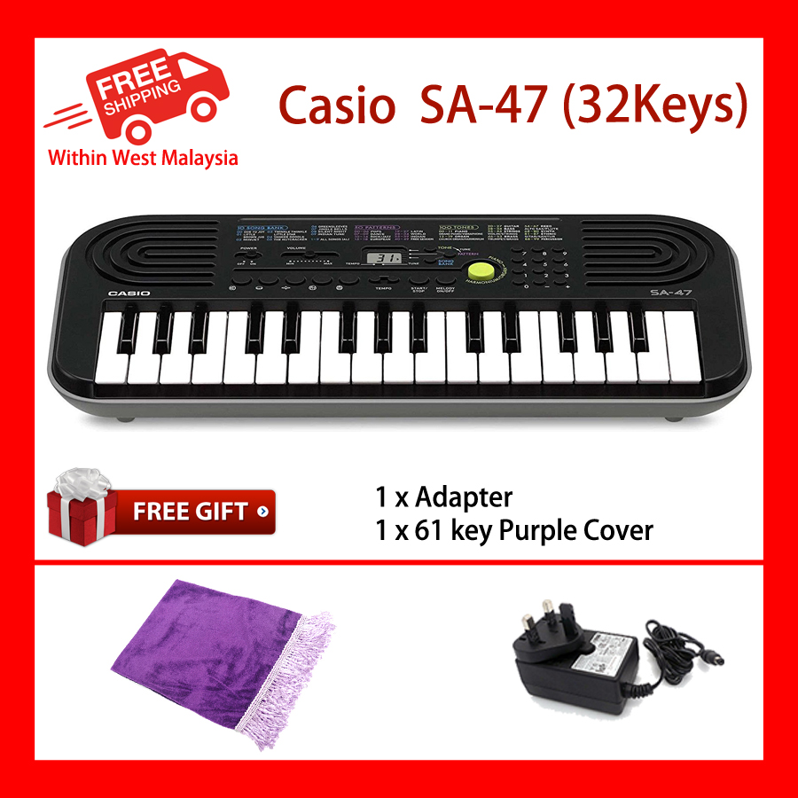 32 Key Casio SA-47 Grey Mini Electronic Keyboard Piano Organ 2 Digit LCD Display 8 Note Polyphony 100 Tones 50 Patterns 10 Song One Touch Switch